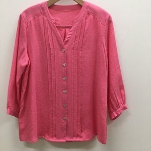 Fridaze Button-Up Blouse; 3/4 Sleeve, Size M